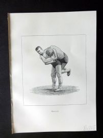 Badminton Library 1889 Wrestling Print. Buttock